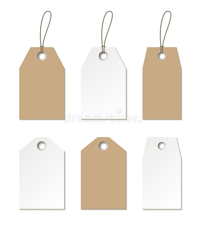 Free Tags Mock Up. Vector Set Of Empty Labels Templates Stock Photography - 130945142