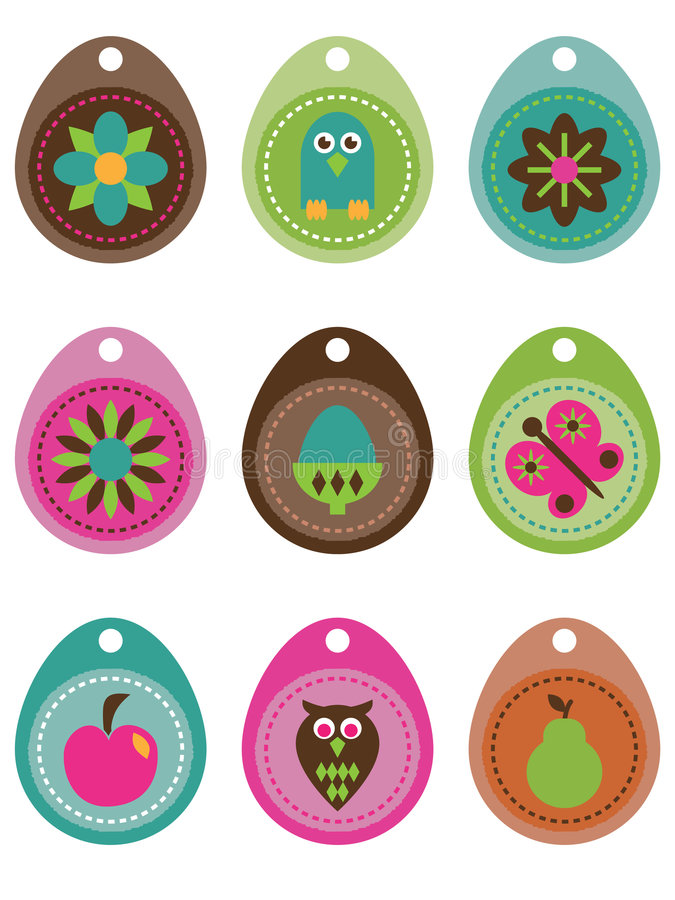 Download Tags with nature icons stock vector. Image of gift, bright - 7278710