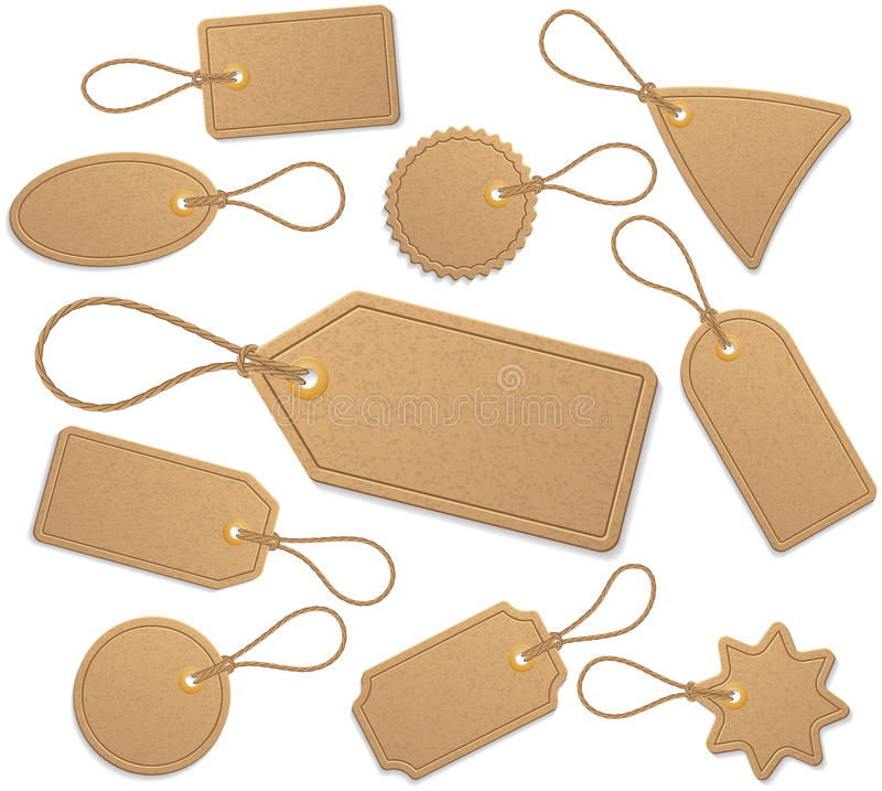 Tags. Set of 10 tags with cord