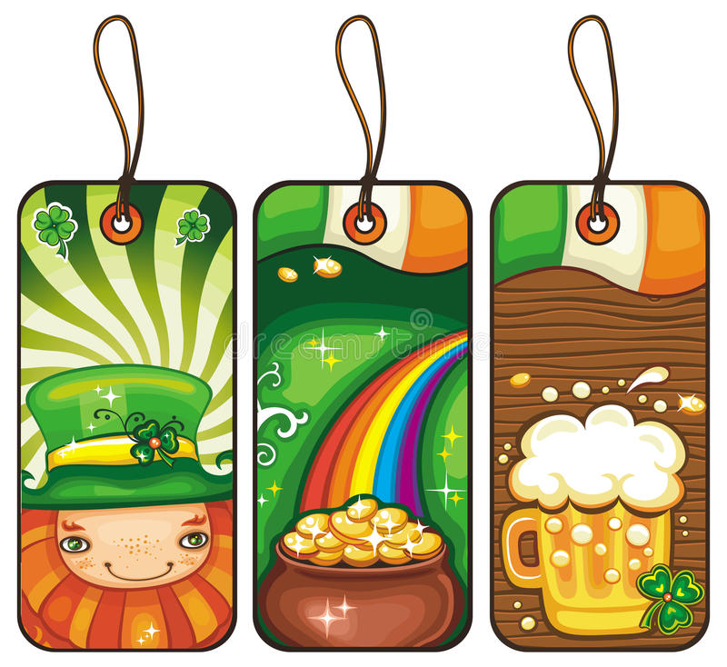 Tags for the St. Patricks Day 1. Price tags for the St. Patrick Day isolated on white background stock illustration