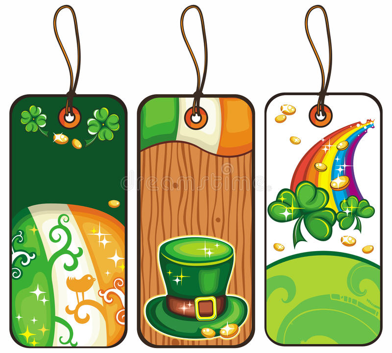 Tags for the St. Patricks Day 2. Price tags for the St. Patrick Day isolated on white background stock illustration