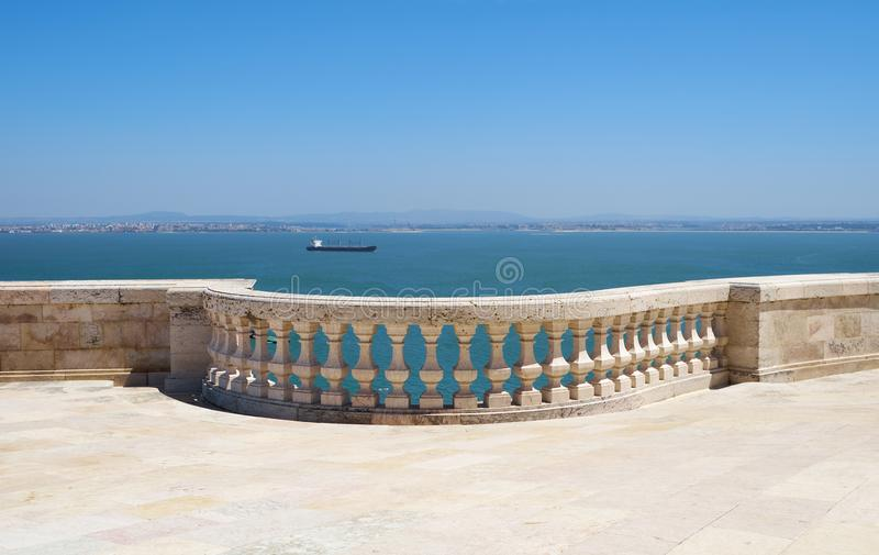 The Tagus river as seen from the roof terrace of National Pantheon. Lisbon. Portugal. The Tagus river as seen from the roof terrace of National Pantheon former stock image