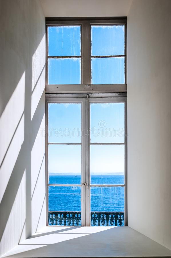 The Tagus River from a window in Lisbon, Portugal royalty free stock photo