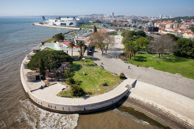 Tagus Rzeczny deptak w Lisbon obrazy stock