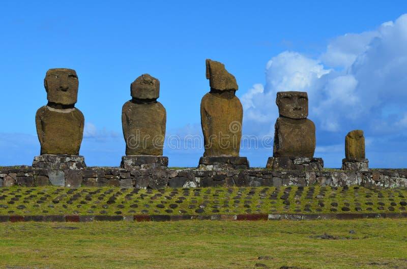 Moais at Ahu Tahai ceremonial complex near Hanga Roa, Rapa Nui Easter Island stock photo