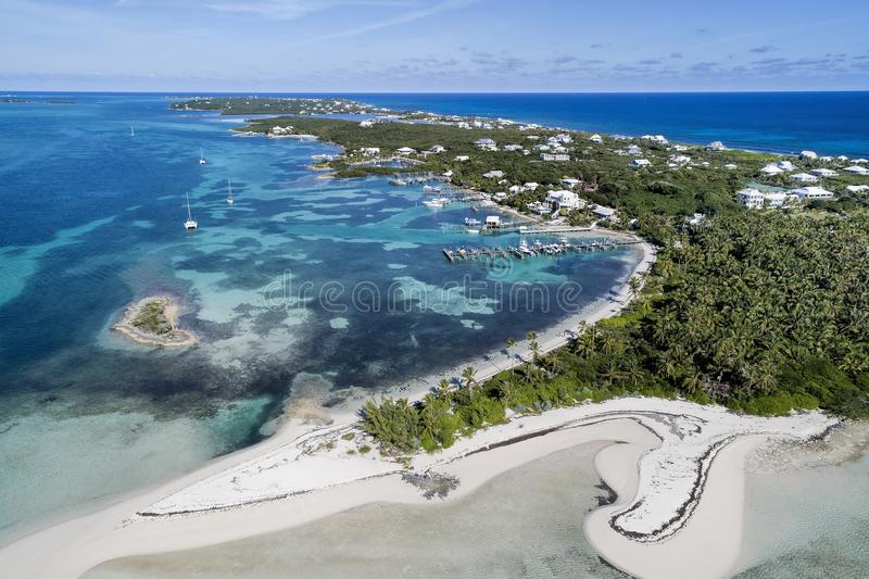 Tahiti Beach and Elbow Cay Abaco. Aerial view of Tahiti Beach and Elbow Cay in Abaco, Bahamas royalty free stock images