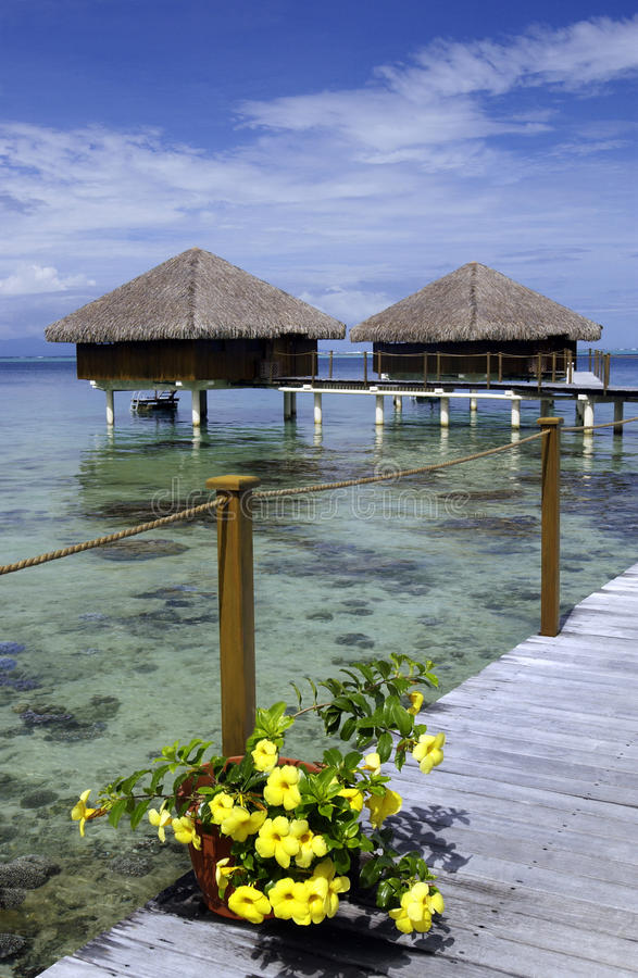 Tahiti - French Polynesia - South Pacific. A luxury vacation resort on the tropical island of Hauhine near Tahiti in French Polynesia in the South Pacific Ocean stock photography
