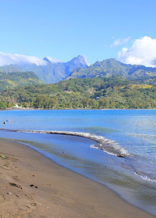 Tahiti island. Black sand beach on Tahiti island. Matavai Bay, point Venus stock image