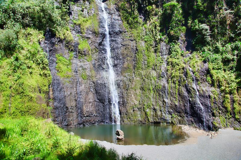 Waterfall, Tahiti island, French polynesia, close to Bora-Bora royalty free stock image