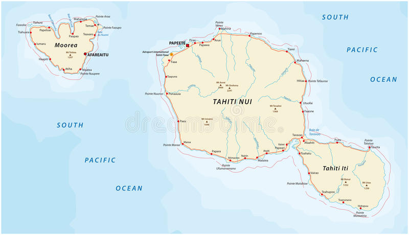 Tahiti and moorea road map stock illustration. Illustration ...
