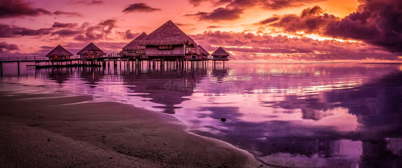 Tahiti sunset. A Tahiti sunset over the ocean royalty free stock photo
