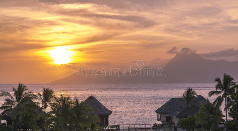 Tahiti Sunset. Tropical sunset on the island of Tahiti in French Polynesia stock images