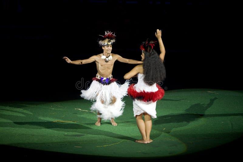 tahitian的舞蹈演员 免版税库存图片