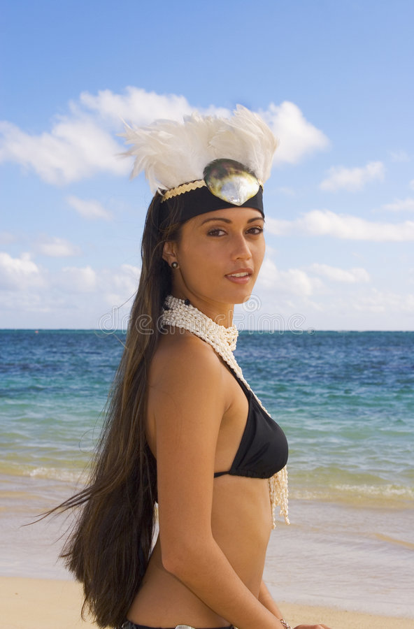 Tahitian princess by the ocean stock image