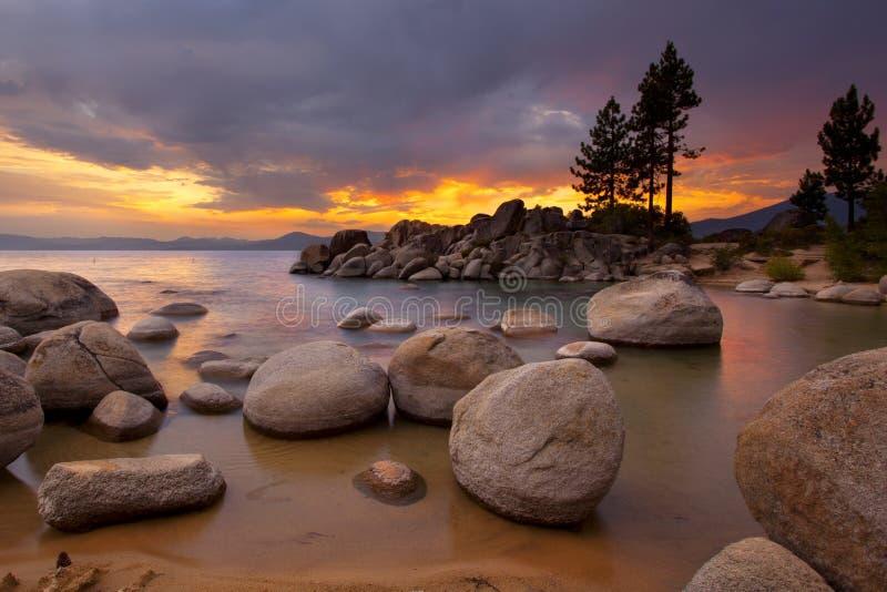 Tahoe日落1 图库摄影