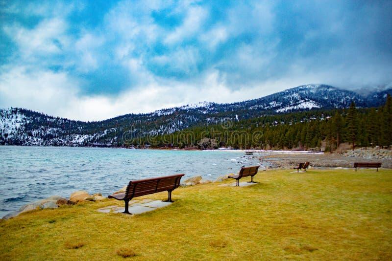 Tahoe湖冬天 免版税库存照片