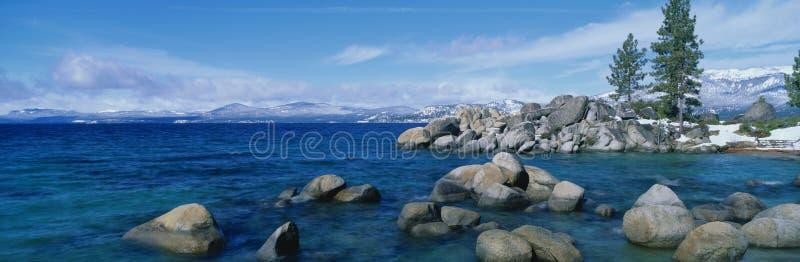 Tahoe湖,加州在冬天 库存照片