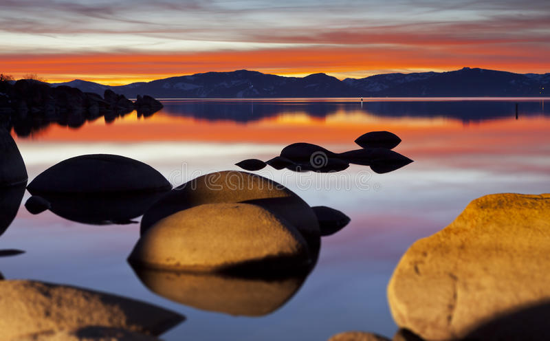 Tahoe红色日落 库存图片