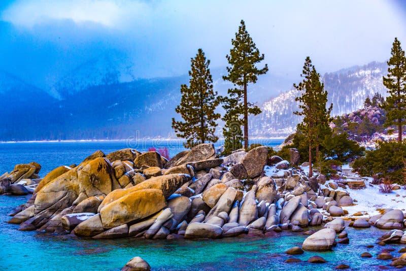 Tahoe jeziorna Zima zdjęcie royalty free
