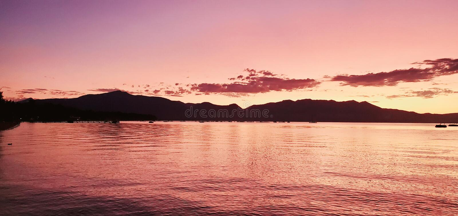 Tahoe sunset from timber cove pier royalty free stock images