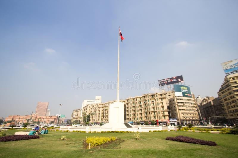 Tahrir Square. Cairo, Egypt – November 9, 2018: photo for Tahrir Square in Cairo city capital of Egypt, and its witnessed most revolutions, and royalty free stock image