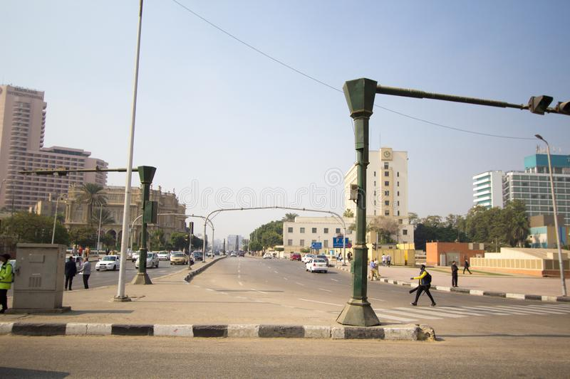 Tahrir Square. Cairo, Egypt – November 9, 2018: photo for Tahrir Square in Cairo city capital of Egypt, and its witnessed most revolutions, and royalty free stock photography