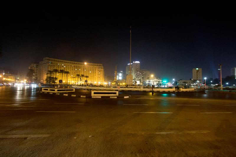 Tahrir Square. Cairo, Egypt – November 5, 2018: photo for Tahrir Square in the night in Cairo city capital of Egypt, and its witnessed most revolutions royalty free stock image