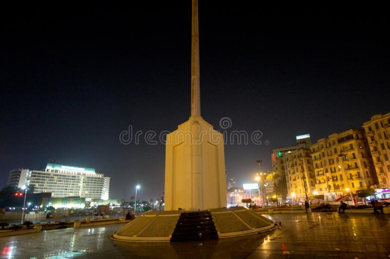Tahrir Square. Cairo, Egypt – November 5, 2018: photo for Tahrir Square in the night in Cairo city capital of Egypt, and its witnessed most revolutions royalty free stock images