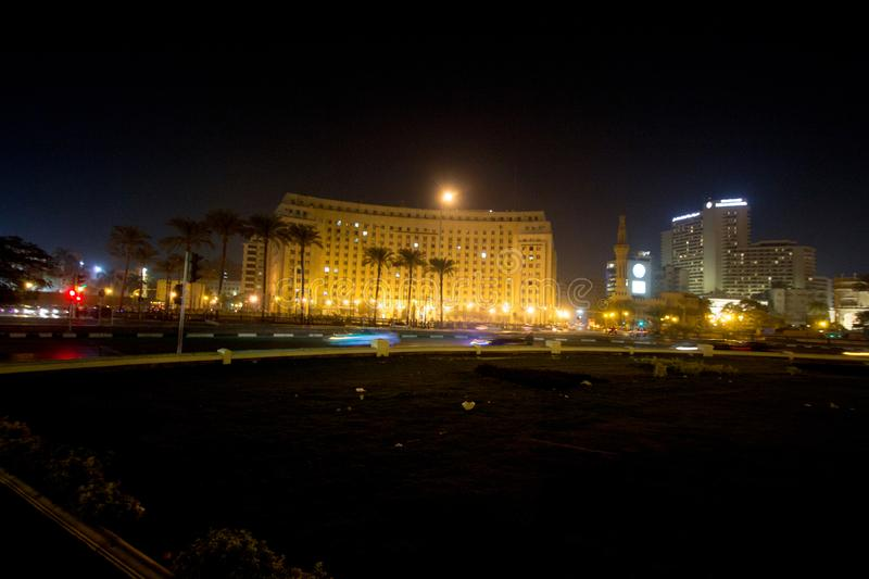 Tahrir Square. Cairo, Egypt – November 5, 2018: photo for Tahrir Square in the night in Cairo city capital of Egypt, and its witnessed most revolutions royalty free stock photos