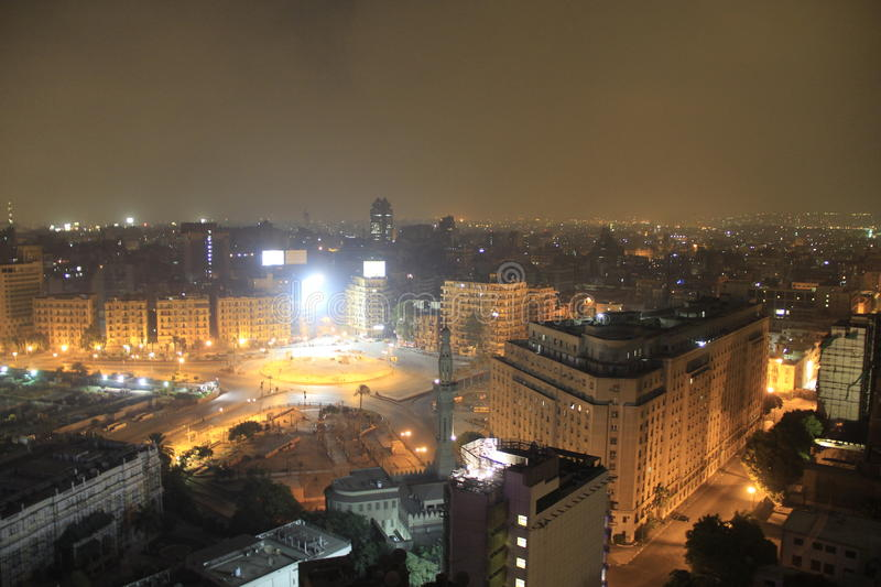 Tahrir square. Night view of Tahrir square,Cairo Egypt stock photography