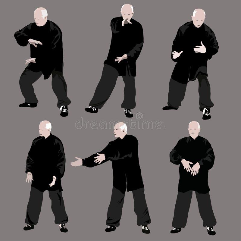 Tai chi σκιαγραφία ατόμων ελεύθερη απεικόνιση δικαιώματος