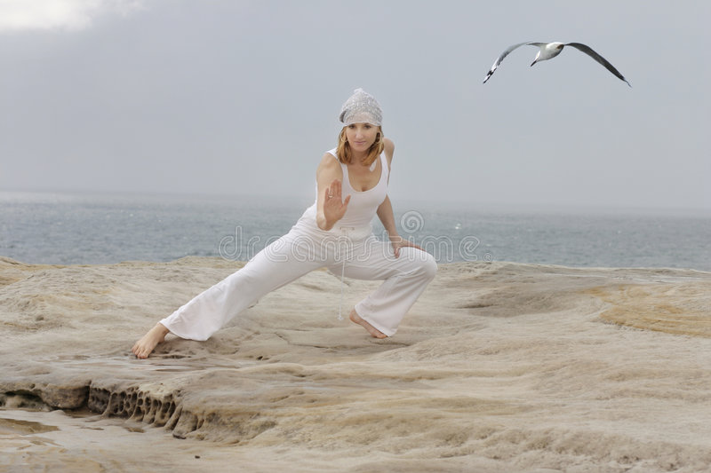 Tai Chi. By the ocean.  movements are low impact exercises based on martial art
