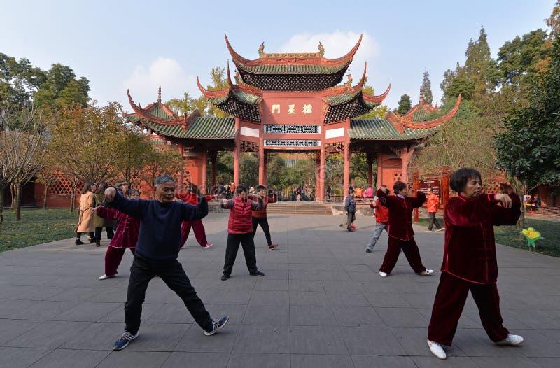 Tai Chi al giardino classico cinese fotografie stock