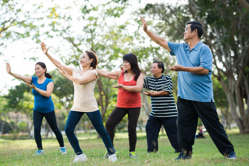 Tai Chi session stock photo