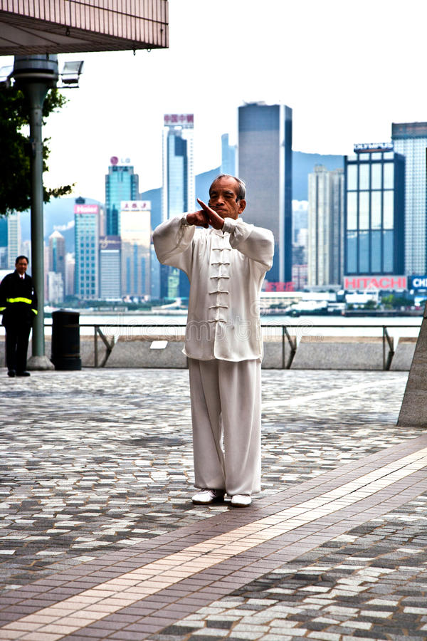 Tai de leraar van de Chi instrueert Tai Chie in publiek stock afbeelding