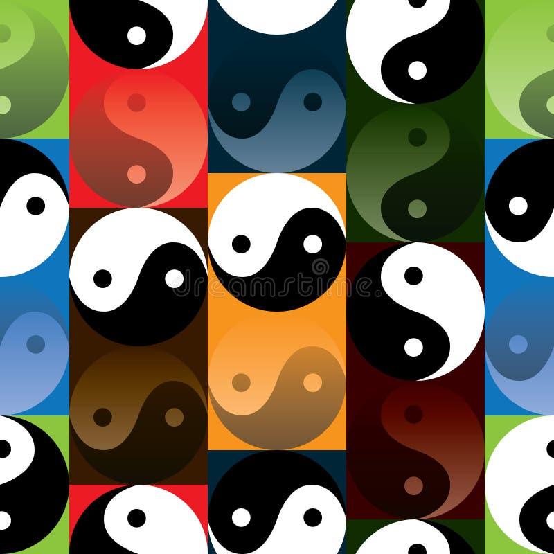 Tai Ji reflect effect four colors seamless pattern stock illustration
