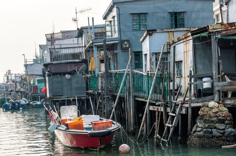 Tai O de stelthuizen van het visserijdorp in Hong Kong stock afbeeldingen