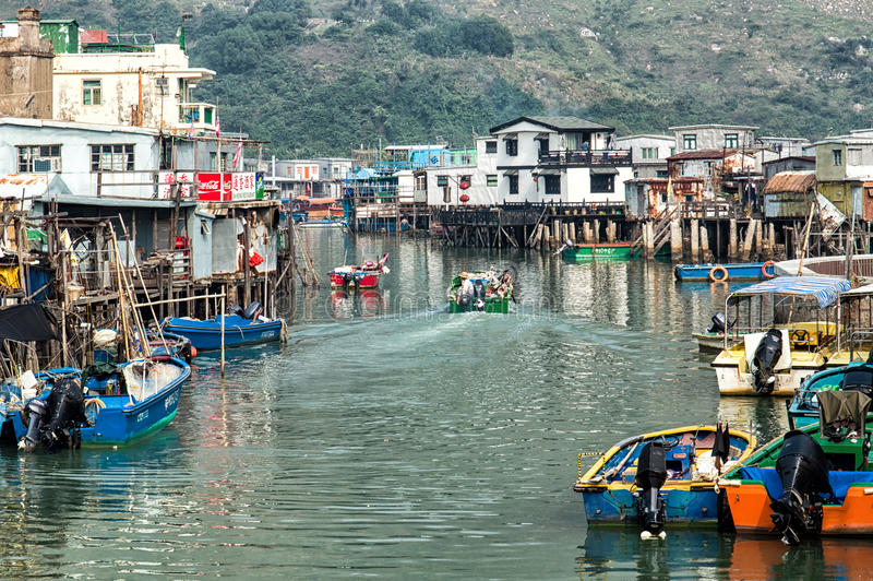 Tai O wioski rybackiej stilt domy w Hong Kong obraz royalty free