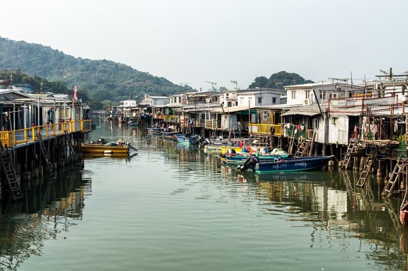 Tai O wioski rybackiej stilt domy w Hong Kong zdjęcie stock