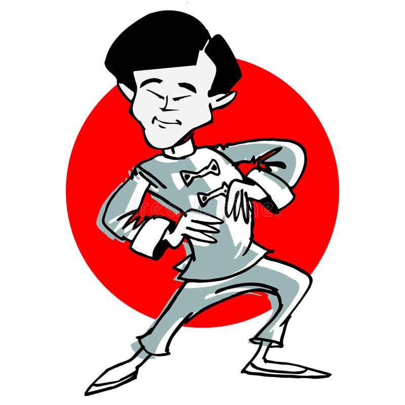 Taichi de la historieta o arte marcial stock de ilustración