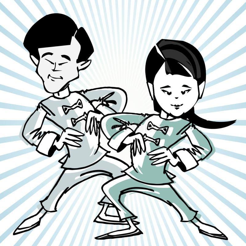 Taichi de la historieta o arte marcial ilustración del vector