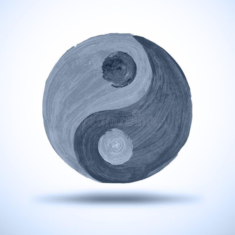 Taichi yin and yang. Watercolor Background. Grunge vector illustration