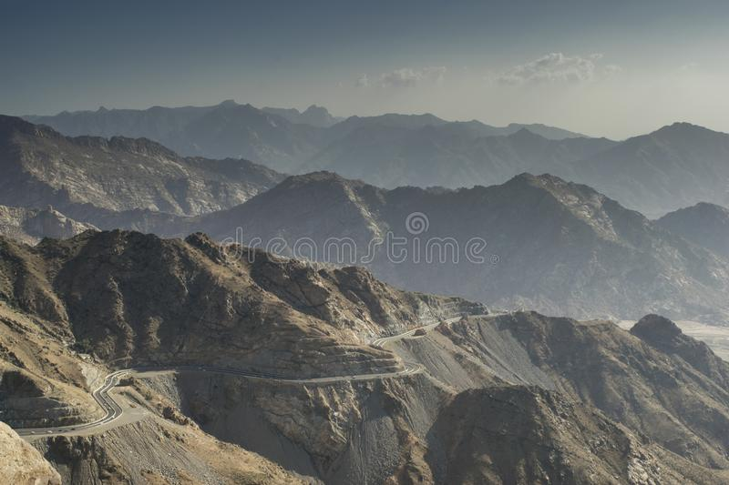 Taif mountains in Saudi Arabia. Taif mountains in Saudi Arabia with amazing shadows stock images