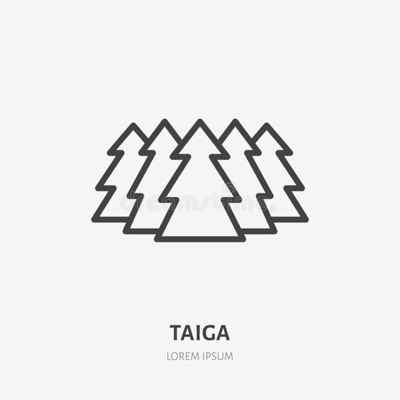 Taiga flat line icon. Vector thin sign of siberian forest, wild nature. Outline illustration for fir trees royalty free illustration