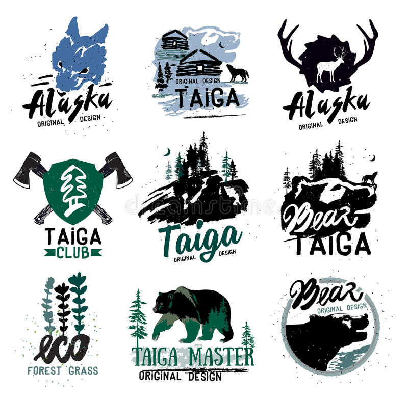 Taiga logotecken Skoglogotyp Björntaigaemblem Campa logo för tappning vektor illustrationer