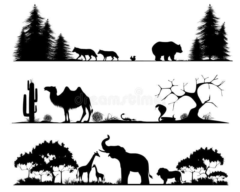 Taiga, woestijn en savanne vector illustratie