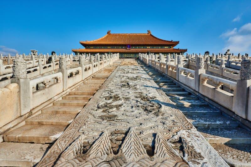 Taihedian hem av suveräna Harmony Imperial Palace Forbidden City royaltyfria foton