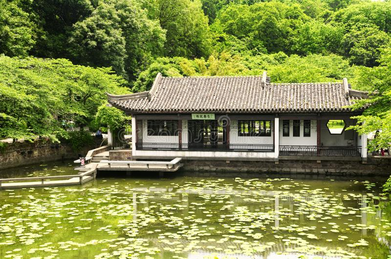 Taihu building wuxi china. A chinese building on a small lily pond within the Lake Tai or Taihu scenic area on Turtle island in Wuxi China on a sunny day in stock photos