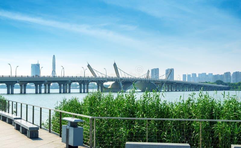 Taihu, Wuxi, China. Taihu Lake and Modern Bridge, Wuxi, China royalty free stock photo