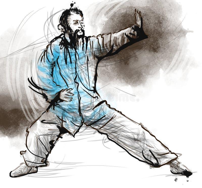 Taiji (Tai Chi) Ένα σύνολο - μεγέθους συρμένο χέρι illustra ελεύθερη απεικόνιση δικαιώματος